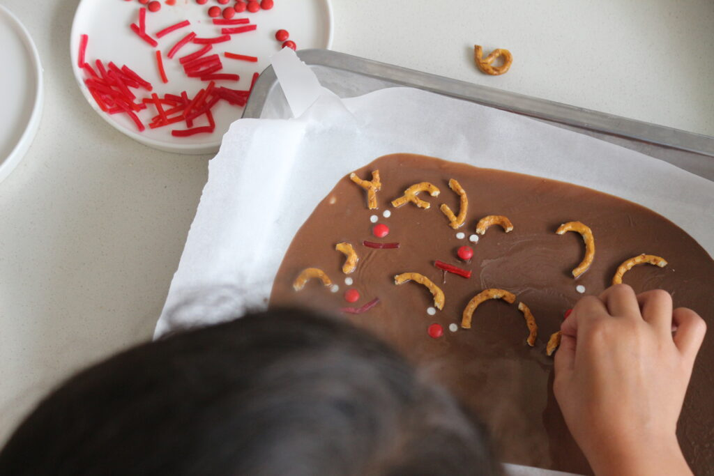 festive chocolate reindeer bark